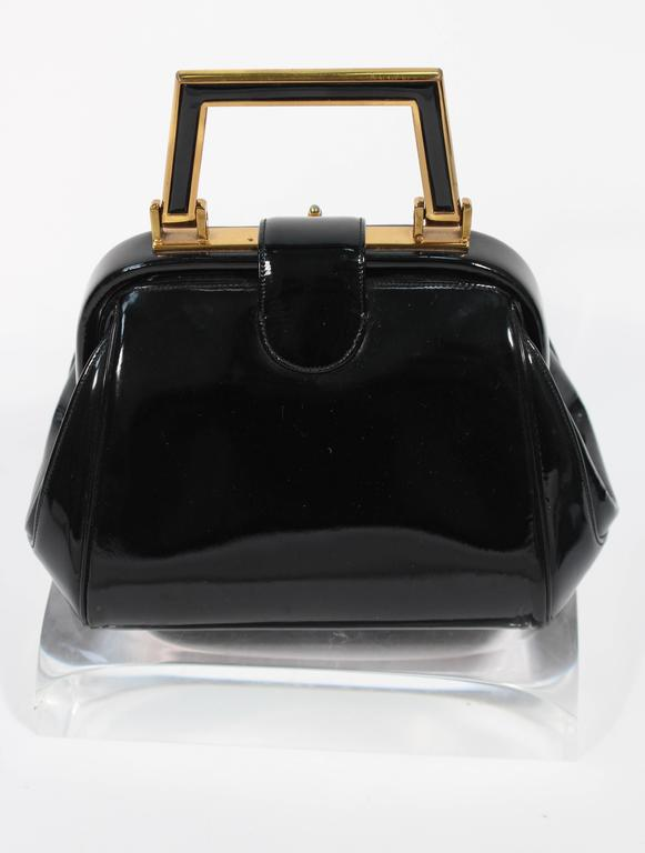 JUDITH LEIBER Vintage Rare 1960's Black and Gold Patent Leather Petite Purse  For Sale 1