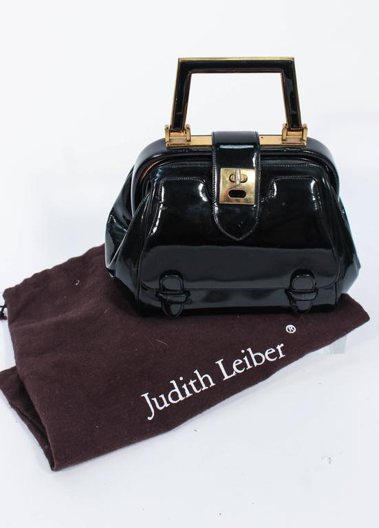 JUDITH LEIBER Vintage Rare 1960's Black and Gold Patent Leather Petite Purse  For Sale 6