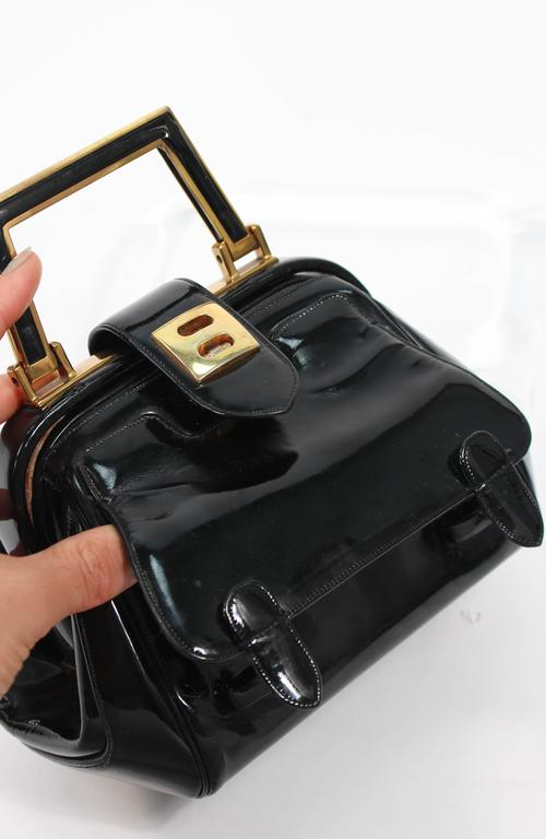 JUDITH LEIBER Vintage Rare 1960's Black and Gold Patent Leather Petite Purse  For Sale 5