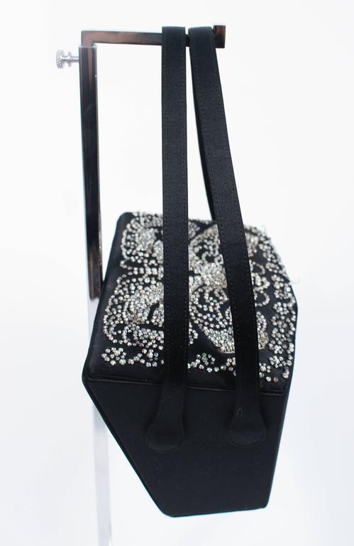 JOSEF Vintage 1950's Black Satin Evening Box Purse with Pave Rhinestone Top For Sale 2