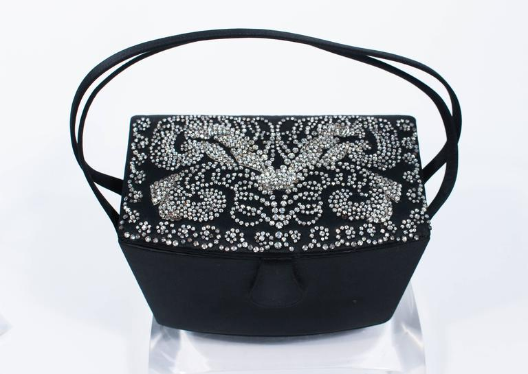 JOSEF Vintage 1950's Black Satin Evening Box Purse with Pave Rhinestone Top In Excellent Condition For Sale In Los Angeles, CA