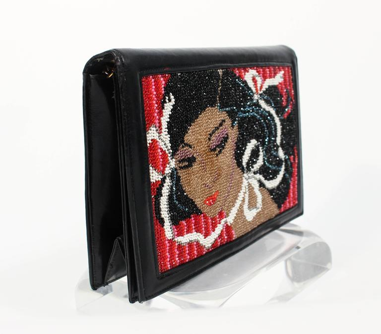 Vintage Black Leather Portrait Art Beaded Clutch with Optional Gold Chain For Sale 2