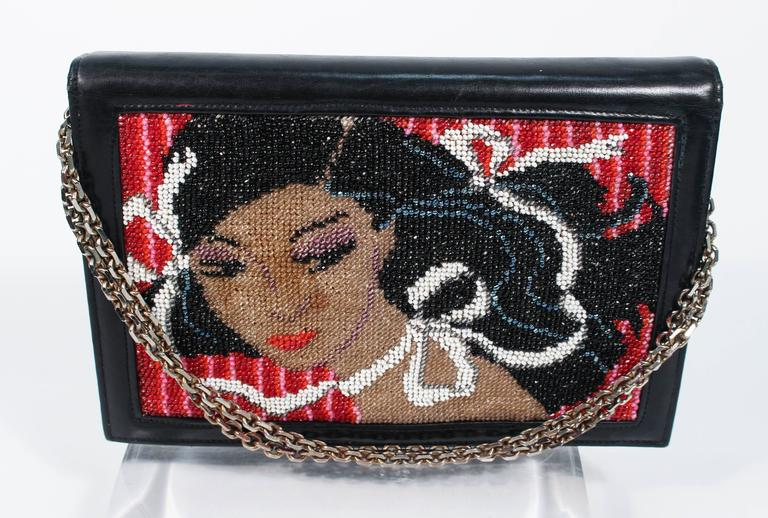 Women's or Men's Vintage Black Leather Portrait Art Beaded Clutch with Optional Gold Chain For Sale