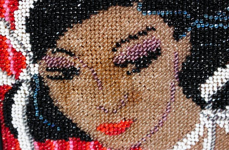Vintage Black Leather Portrait Art Beaded Clutch with Optional Gold Chain For Sale 1