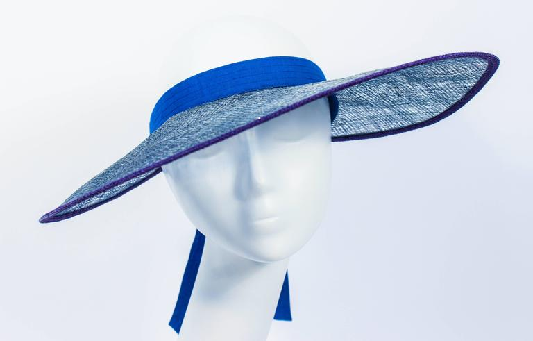 YVES SAINT LAURENT RIVE GAUCHE Blue Runway Visor In Excellent Condition For Sale In Los Angeles, CA
