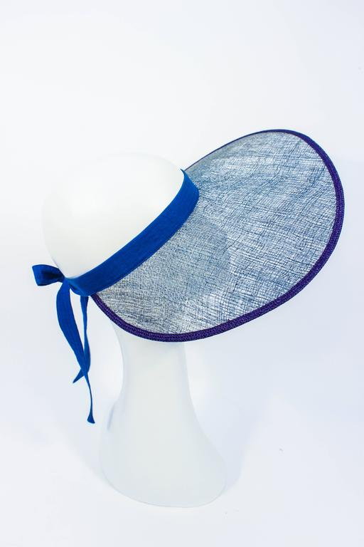 Women's or Men's YVES SAINT LAURENT RIVE GAUCHE Blue Runway Visor For Sale