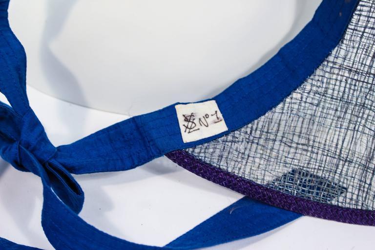 YVES SAINT LAURENT RIVE GAUCHE Blue Runway Visor For Sale 2