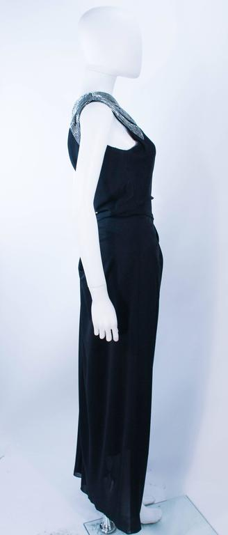 TRAVILLA 1970's Black Draped Jersey Gown with Silver Beaded Applique Size 8 10 For Sale 4