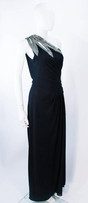TRAVILLA 1970's Black Draped Jersey Gown with Silver Beaded Applique Size 8 10 For Sale 1