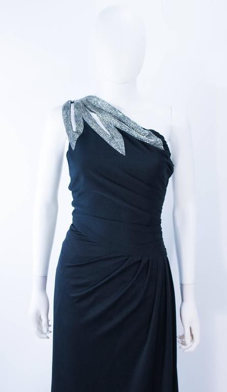 TRAVILLA 1970's Black Draped Jersey Gown with Silver Beaded Applique Size 8 10 In Excellent Condition For Sale In Los Angeles, CA