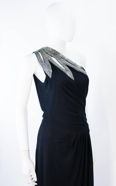 TRAVILLA 1970's Black Draped Jersey Gown with Silver Beaded Applique Size 8 10 For Sale 2