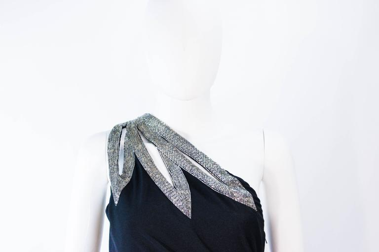 Women's TRAVILLA 1970's Black Draped Jersey Gown with Silver Beaded Applique Size 8 10 For Sale