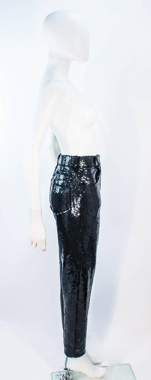 SUITE 101 Vintage Black Stretch High Waist Sequin Pants Size 8 10 For Sale 3
