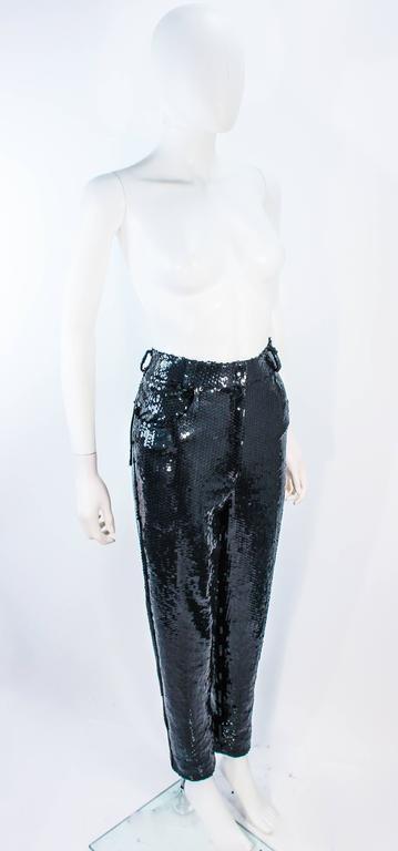 Women's SUITE 101 Vintage Black Stretch High Waist Sequin Pants Size 8 10 For Sale