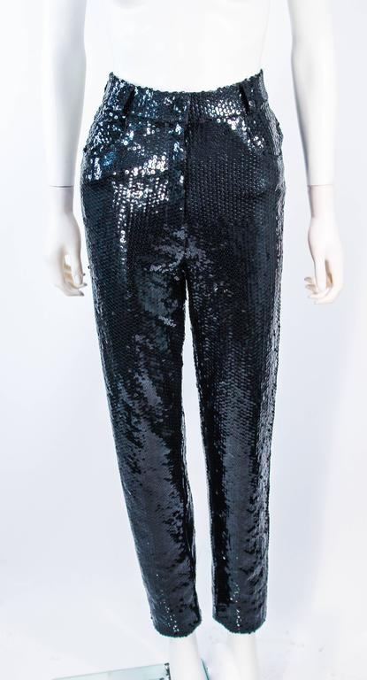 SUITE 101 Vintage Black Stretch High Waist Sequin Pants Size 8 10 In Excellent Condition For Sale In Los Angeles, CA