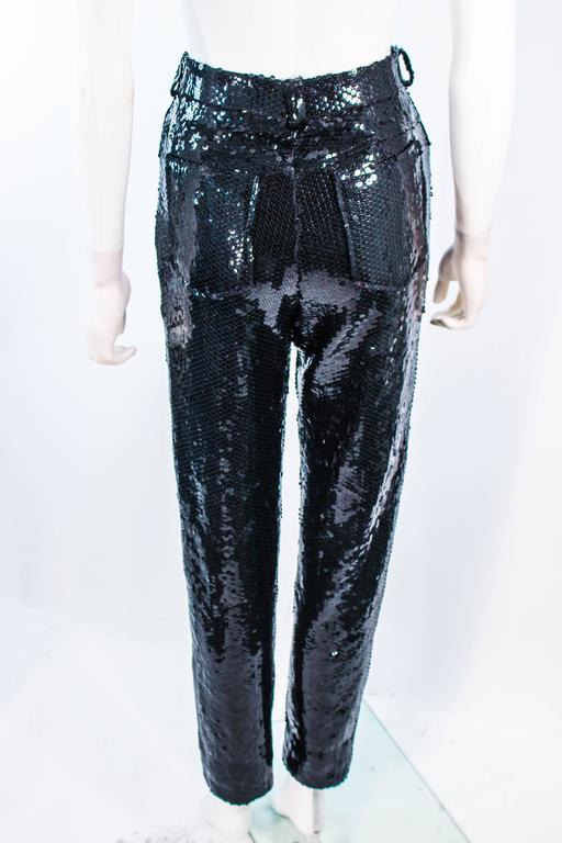 SUITE 101 Vintage Black Stretch High Waist Sequin Pants Size 8 10 For Sale 5