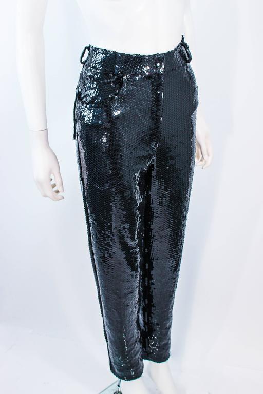 SUITE 101 Vintage Black Stretch High Waist Sequin Pants Size 8 10 For Sale 1