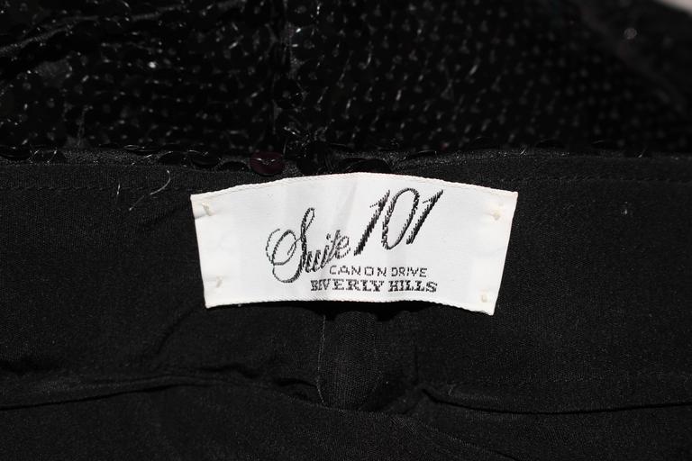 SUITE 101 Vintage Black Stretch High Waist Sequin Pants Size 8 10 For Sale 6