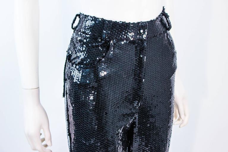 SUITE 101 Vintage Black Stretch High Waist Sequin Pants Size 8 10 For Sale 2