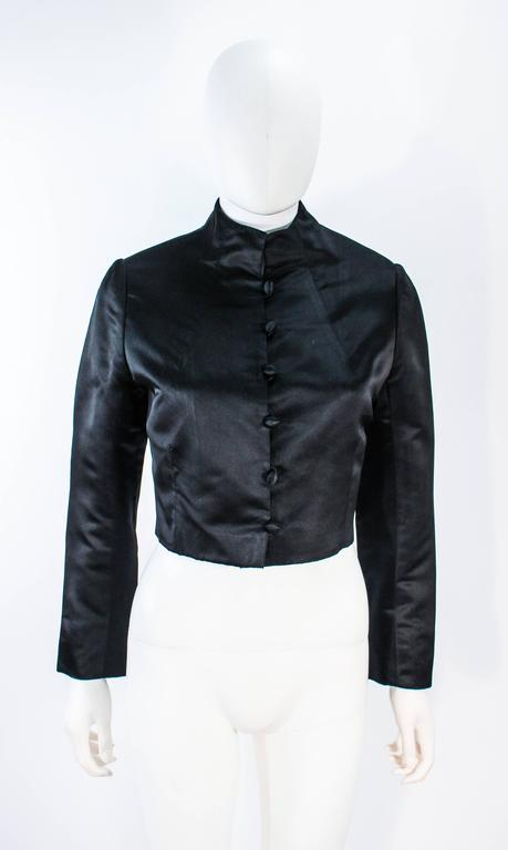 MICHAEL NOVARESE Vintage Black Satin Tiered Gown and Jacket Ensemble Size 4 6 In Excellent Condition For Sale In Los Angeles, CA