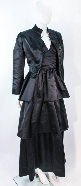 Women's or Men's MICHAEL NOVARESE Vintage Black Satin Tiered Gown and Jacket Ensemble Size 4 6 For Sale
