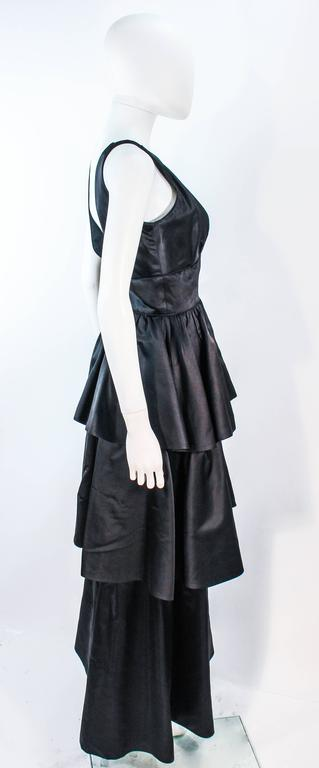 MICHAEL NOVARESE Vintage Black Satin Tiered Gown and Jacket Ensemble Size 4 6 For Sale 1