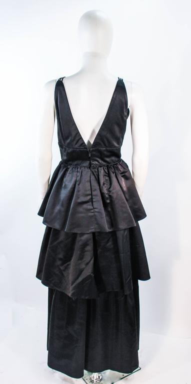 MICHAEL NOVARESE Vintage Black Satin Tiered Gown and Jacket Ensemble Size 4 6 For Sale 3
