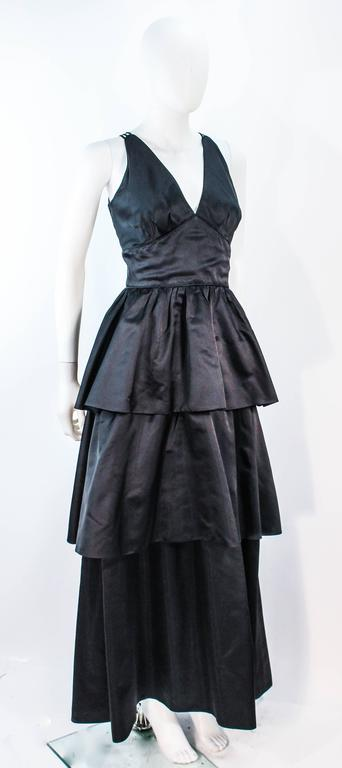 MICHAEL NOVARESE Vintage Black Satin Tiered Gown and Jacket Ensemble Size 4 6 For Sale 2