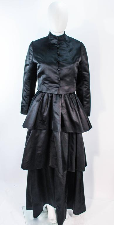 MICHAEL NOVARESE Vintage Black Satin Tiered Gown and Jacket Ensemble Size 4 6 For Sale 5