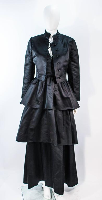 MICHAEL NOVARESE Vintage Black Satin Tiered Gown and Jacket Ensemble Size 4 6 For Sale 4