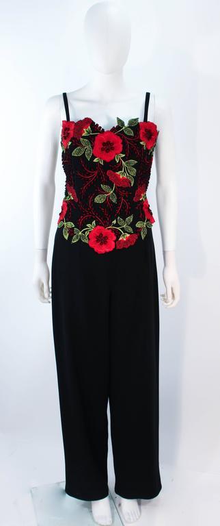 Women's FE ZANDI Vintage Black Floral Bustier Lace Pant Suit Size 8 For Sale