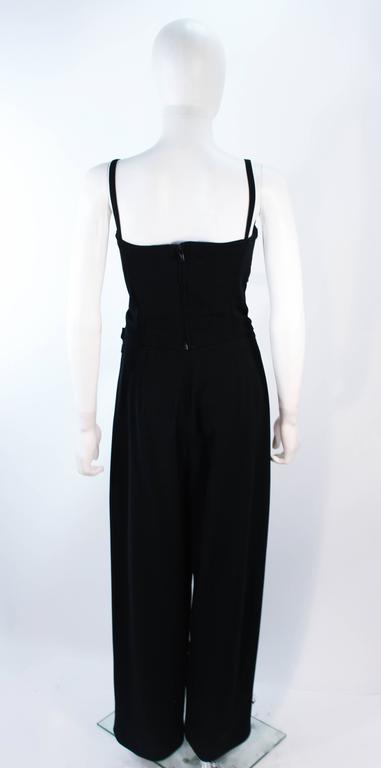 FE ZANDI Vintage Black Floral Bustier Lace Pant Suit Size 8 For Sale 2
