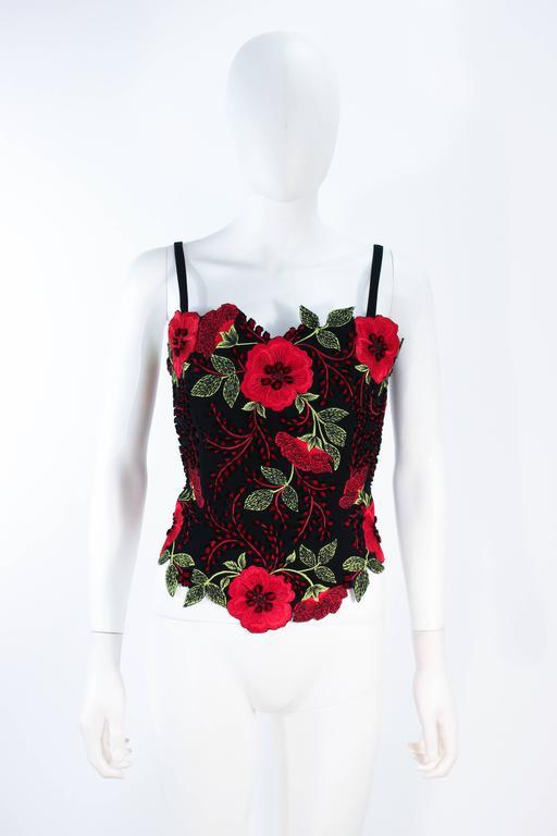 FE ZANDI Vintage Black Floral Bustier Lace Pant Suit Size 8 For Sale 4