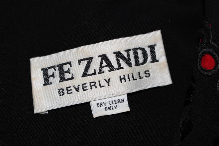 FE ZANDI Vintage Black Floral Bustier Lace Pant Suit Size 8 For Sale 6