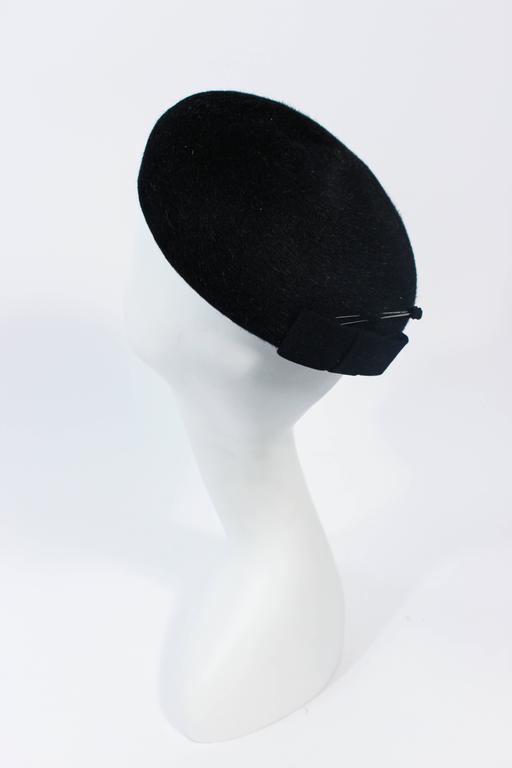 SCHIAPARELLI FRANCE Black 1960's Baret With Rhinestone Trim  8