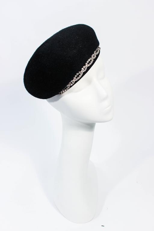 Women's SCHIAPARELLI FRANCE Black 1960's Baret With Rhinestone Trim  For Sale