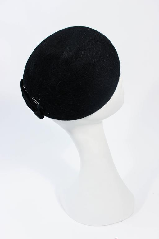 SCHIAPARELLI FRANCE Black 1960's Baret With Rhinestone Trim  For Sale 3