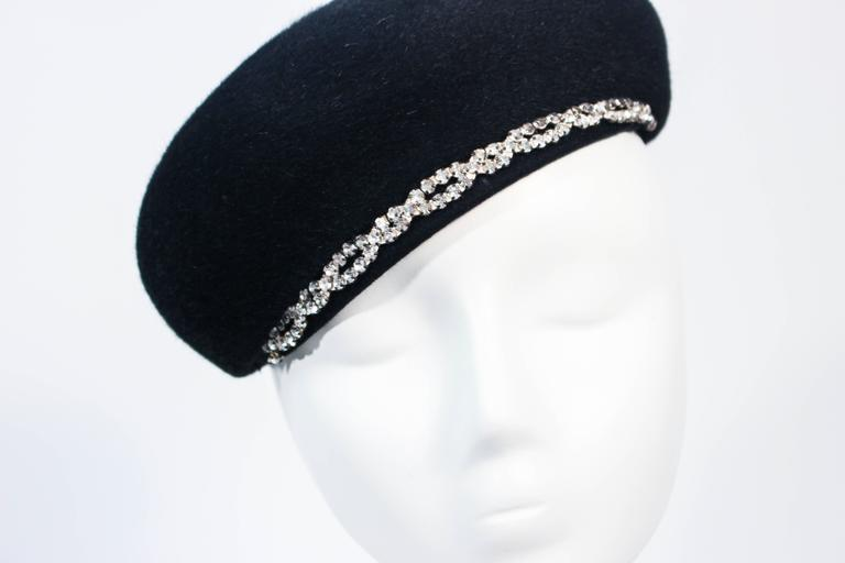 SCHIAPARELLI FRANCE Black 1960's Baret With Rhinestone Trim  In Excellent Condition For Sale In Los Angeles, CA