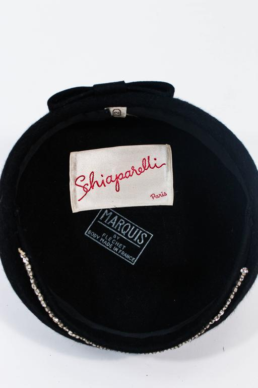 SCHIAPARELLI FRANCE Black 1960's Baret With Rhinestone Trim  For Sale 5