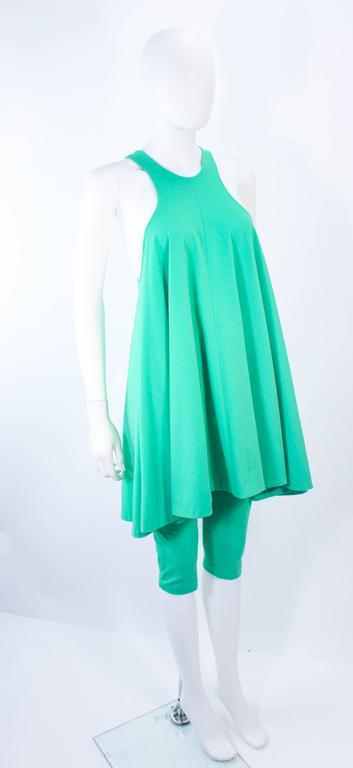 NORMA KAMALI OMO Mint Green Stretch Knit Trapeze Dress and Crop Pants Size M P For Sale 1