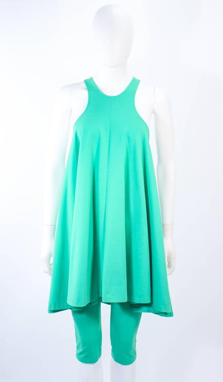 NORMA KAMALI OMO Mint Green Stretch Knit Trapeze Dress and Crop Pants Size M P 3