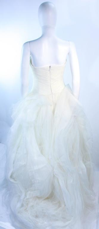 VERA WANG White Tulle & Lace Wedding Gown With Gathered Bustier Size 4 10K 8