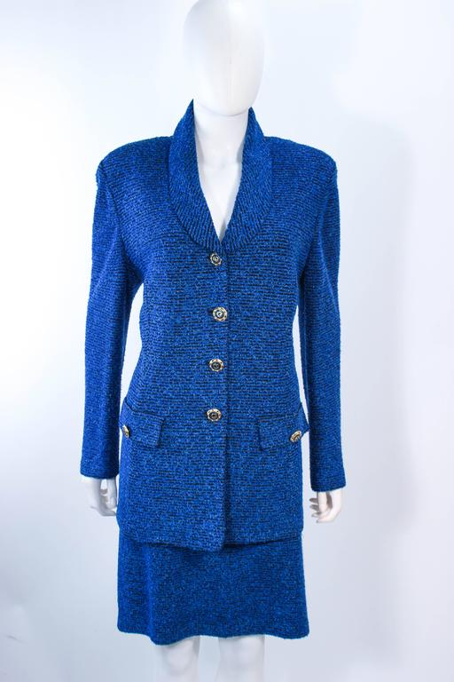920bde8d095 ST. JOHN Vintage Royal Blue Stretch Wool Skirt Suit Size 14 In Excellent  Condition For