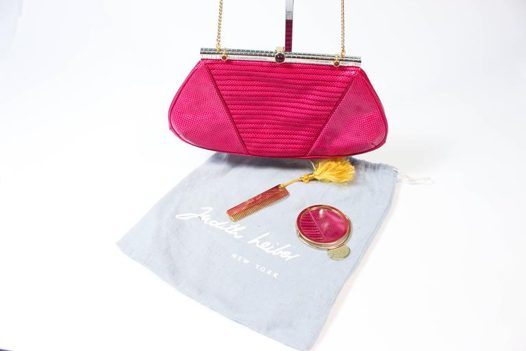 Judith Leiber Vintage Purple Magenta Lizard Skin Purse With Mirror And Comb 8wh3KN0hpr
