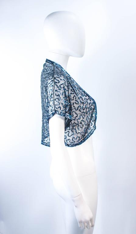 ANTIQUE 1930'S Blue Sequin and Tulle Bolero Size 2 4 For Sale 2