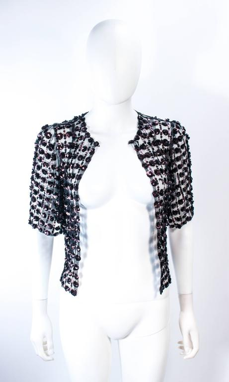 ANTIQUE 1930'S Tulle & Chocolate Bronze Sequin Applique Jacket Size 4 In Excellent Condition For Sale In Los Angeles, CA