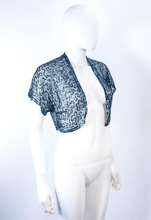 Women's ANTIQUE 1930'S Blue Sequin and Tulle Bolero Size 2 4 For Sale