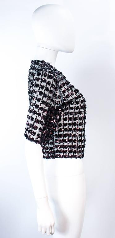 ANTIQUE 1930'S Tulle & Chocolate Bronze Sequin Applique Jacket Size 4 For Sale 2