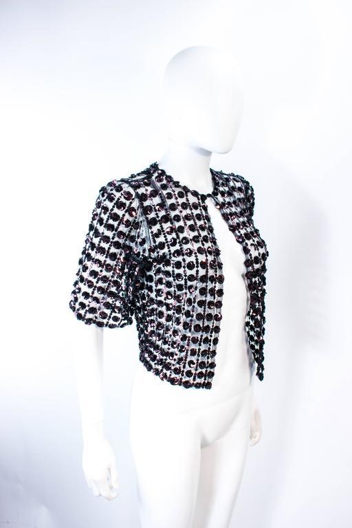 Women's ANTIQUE 1930'S Tulle & Chocolate Bronze Sequin Applique Jacket Size 4 For Sale