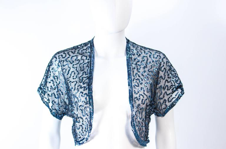 ANTIQUE 1930'S Blue Sequin and Tulle Bolero Size 2 4 In Excellent Condition For Sale In Los Angeles, CA